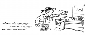 Planungszellen Datenbank Cartoon